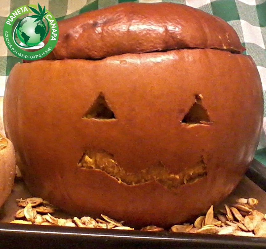 Don't waste your pumpkin. Instead, why not use it in a healthy way, to make a Halloween hemp and pumpkin recipe?