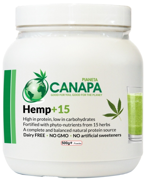 Hemp+15 Protein Powder with 15 herbs. It contains 100% Natural Ingredients